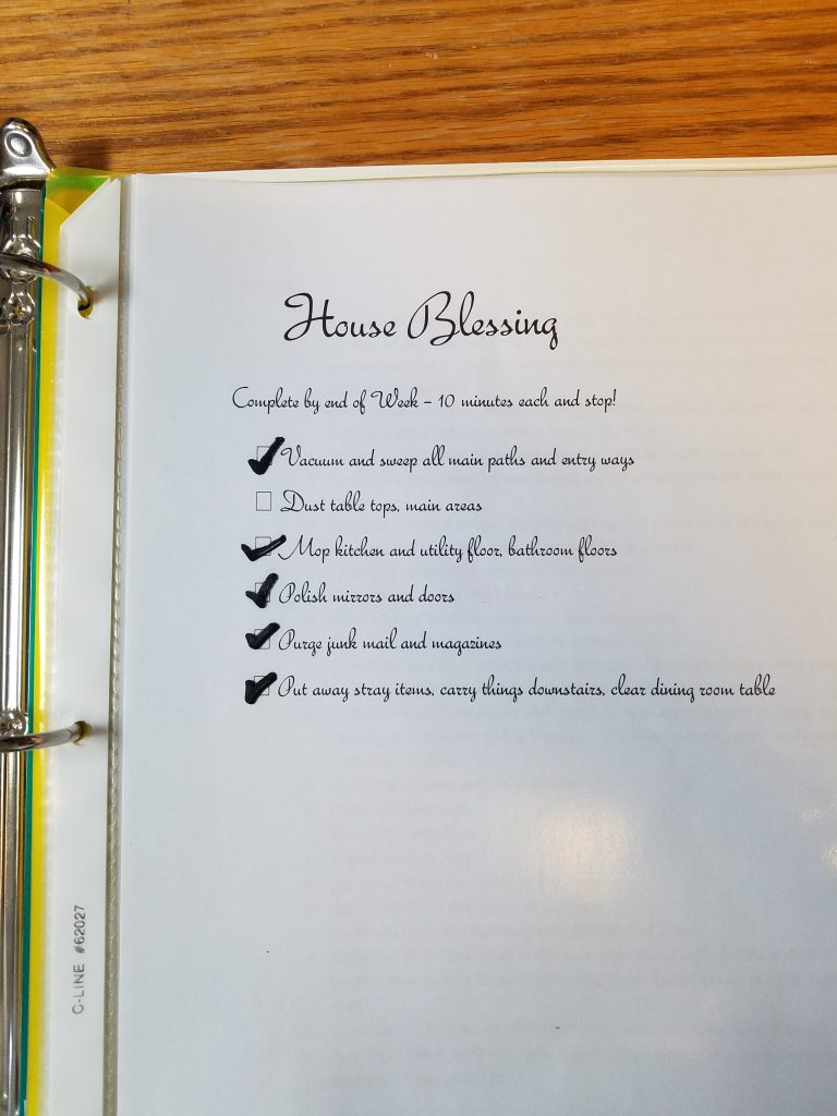 House cleaning routine chart for weekly home blessing